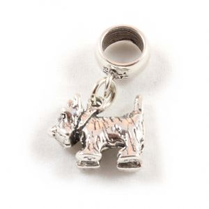 Charm School UK > Sterling Silver Dangle Charms > Dogs > Scottie / Westie Dog 3D Sterling Silver Dangle Charm / Carrier Bead